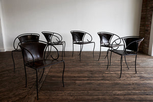 Leather and Iron Chairs