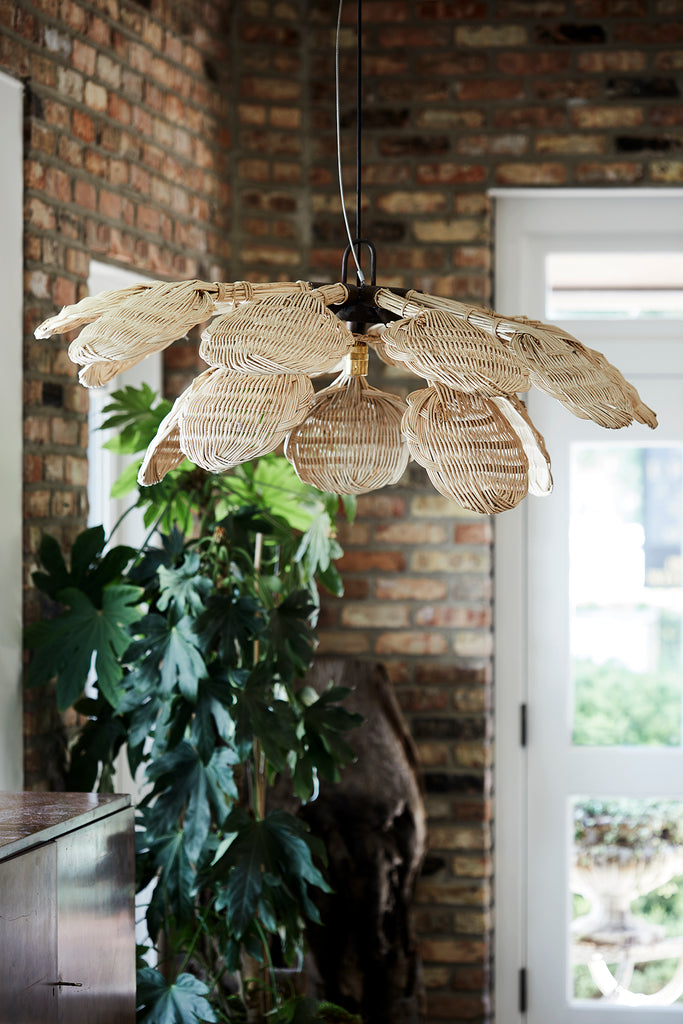 French Rattan Chandelier