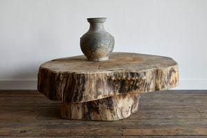 Primitive Oak Stump Coffee Table