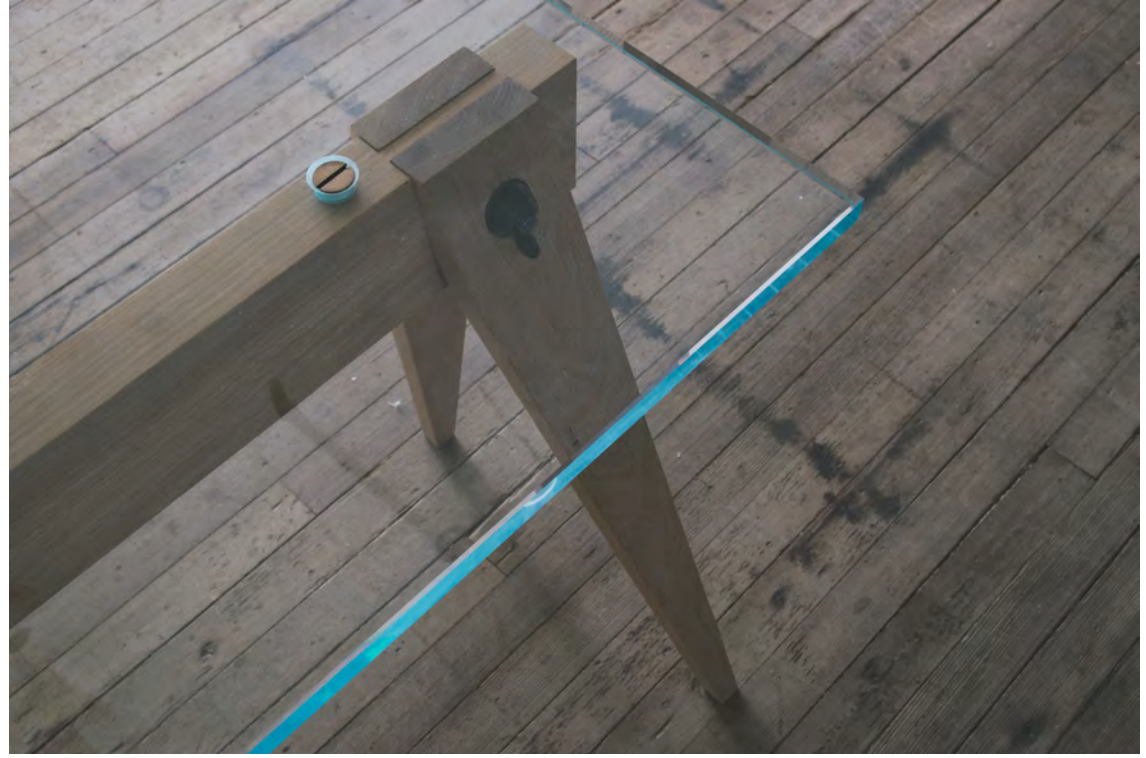 Glass Sawhorse Table