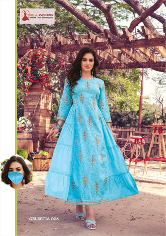 Cotton Festival Wear Hand Work Kurti With Matching Facial Mask