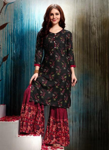 Black- Rayon Regular Wear Fancy Printed  Kurtis With Sharara
