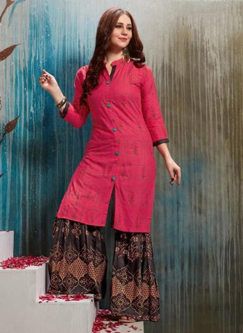 Pink-Rayon Regular Wear Fancy Printed Kurtis With Sharara