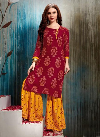 Rani-Rayon Regular Wear Fancy Printed Kurtis With Sharara