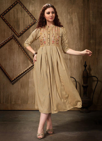 Beige Rayon Casual Wear Embroidery Work Kurti