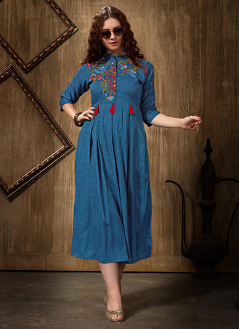 Blue Rayon Casual Wear Embroidery Work Kurti