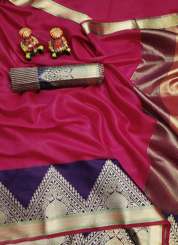 Cotton Silk Weaving Violet Traditional Wear Saree