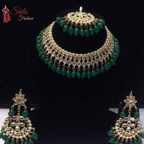 Indian Bridal Jewelry Choker Kundan Necklace Earrings Tikka Set Green Beads Pearls Gold Plated