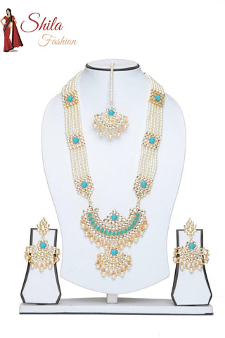 Indian Pakistani Bollywood Gold Plated Kundan Necklace Rani Haar Earrings & Mang