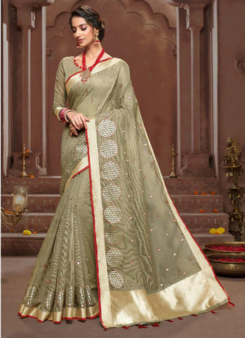 golden  Chanderi Casual Wear Embroidery Work Saree