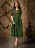 GREEN  Rayon Casual Wear Embroidery Work Kurti