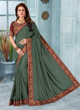 Green Silk Festival Wear Embroidery Work Saree