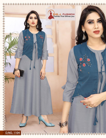 Art Silk Regular Wear Kurti With Non Attached Cotty