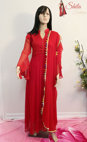 Pakistani Red Color Georgette Party Wear Salwar Suits
