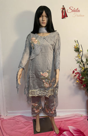 Pakistani Embroidered Cotton Trouser Salwar suit