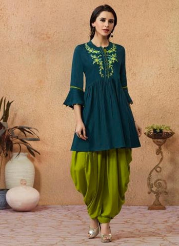 GREEN RAYON DAILY WEAR EMBROIDERY WORK KURTI