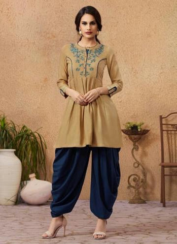 BROWN RAYON DAILY WEAR EMBROIDERY WORK