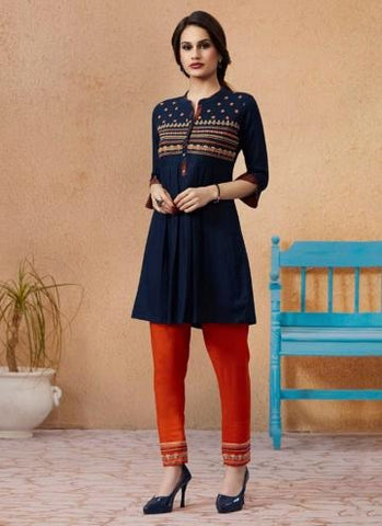 BLUE RAYON DAILY WEAR EMBROIDERY WORK KURTI