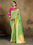 Light Green Art Silk Festival Wear Weaving Saree