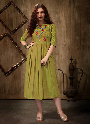 light green Rayon Casual Wear Embroidery Work Kurti