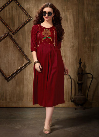 Maroon Rayon Casual Wear Embroidery Work Kurti