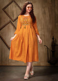 Orange Rayon Casual Wear Embroidery Work Kurti