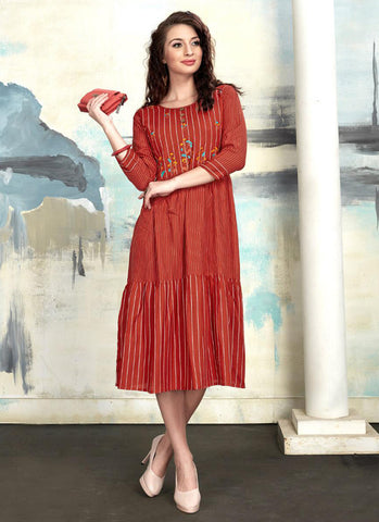 Orange Rayon Daily Wear Printed Work Kurti