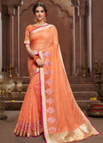 Peach Chanderi Casual Wear Embroidery Work Saree
