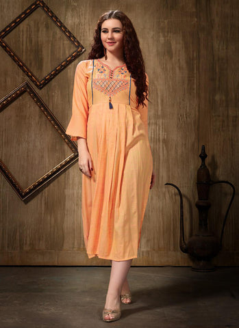 Peach Rayon Casual Wear Embroidery Work Kurti