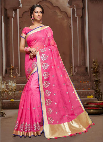Pink Chanderi Casual Wear Embroidery Work Saree