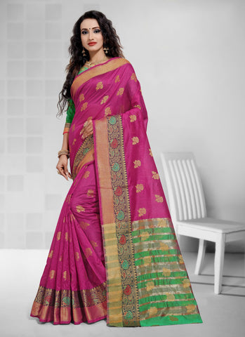 Pink Cotton Festival Wear Zari Work Saree