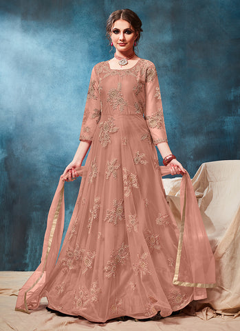 Pink Net Reception Wear Embroidery Work Anarkali Suit