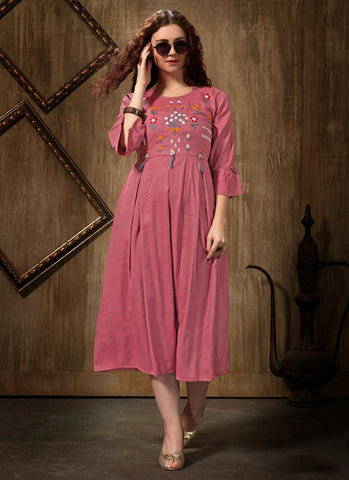 light pink Rayon Casual Wear Embroidery Work Kurti