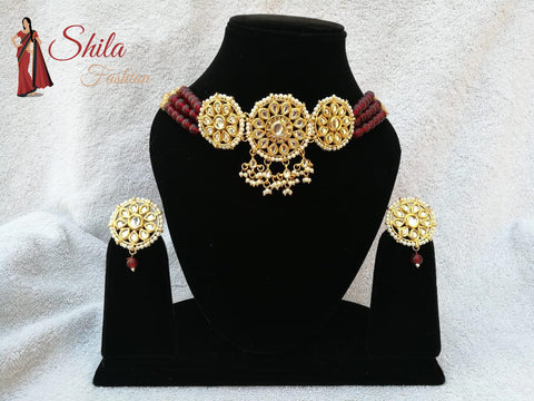 Pakistani Ethnic Gold Plated Choker Pearls Earrings Party Wear Festivals Trends