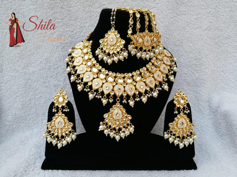 Bollywood Indian Bridal Wedding Jewelry Meena Enamel Kundan Necklace Set 5 Pcs