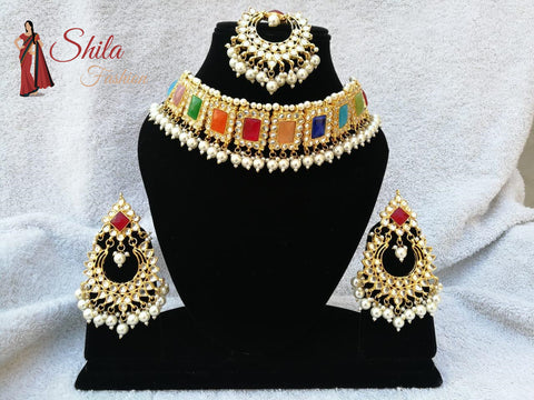 Pearls Jadaw Design Meena Kundan Gold Plated Party Handmade Jewelry Necklace Set