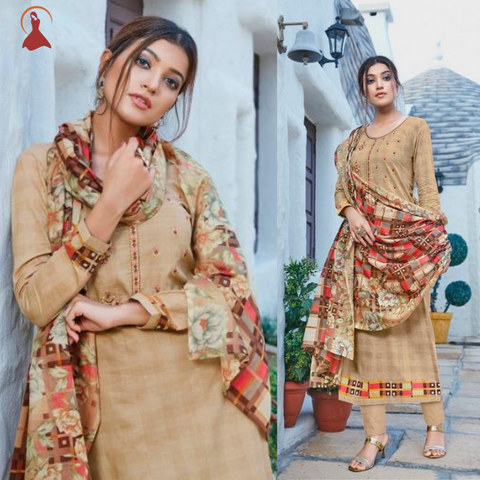 Pure Jam Cotton & Silk Digital Printing White Work Unstiched Salwar Kameez Suit