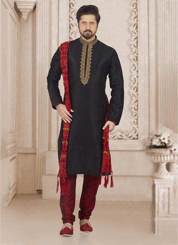 Black Banarasi Silk Party Wear Embroidery Work Kurta Pajama