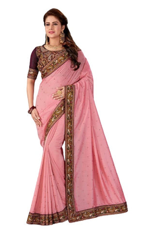pink Silk Festival Wear Embroidery Work Saree