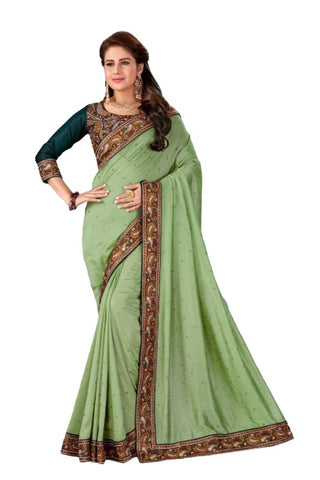 Light Green Silk Festival Wear Embroidery Work Saree