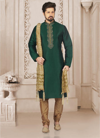 Banarasi Silk Green New Designer Embroidery Work Kurta Pajama