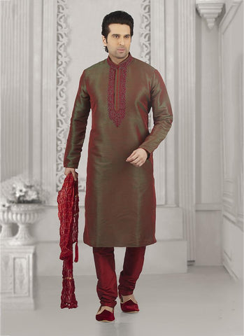 Green Maroon Banarasi Silk Party Wear Embroidery Work Kurta Pajama