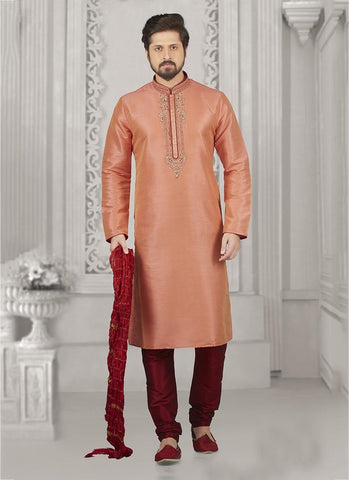 Embroidery Work Banarasi Silk Peach Party Wear Embroidery Work Kurta Pajama