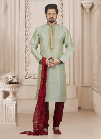 Pista Green Banarasi Silk Party Wear Embroidery Work Kurta Pajama