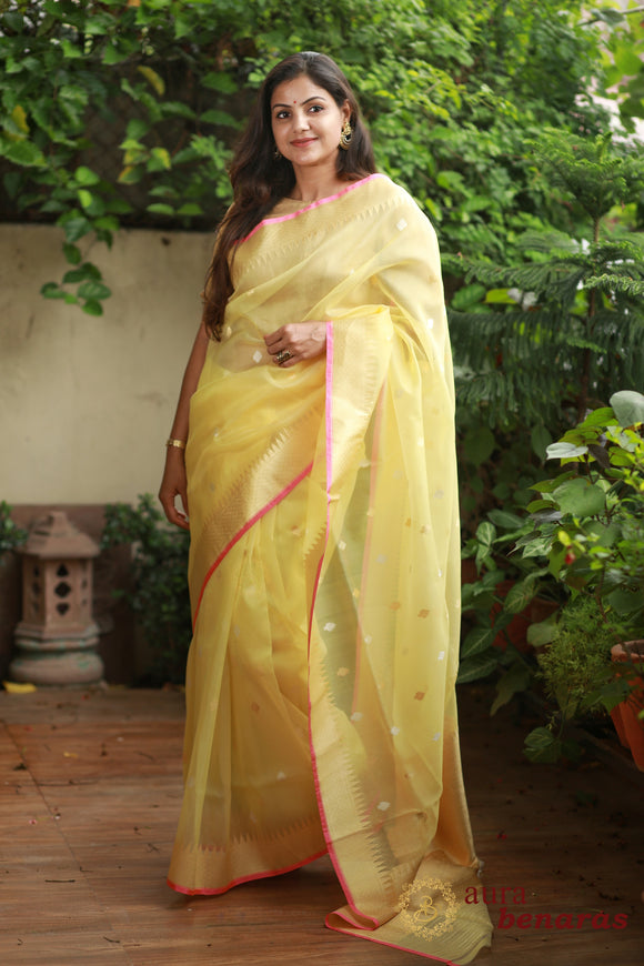 YELLOW BANARASI HANDLOOM TISSUE SILK SAREE