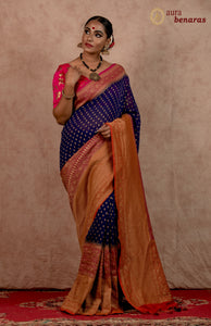 ROYAL BLUE BANARASI HANDLOOM PURE KHADDI GEORGETTE SILK SAREE WITH 17 INCHES BROAD BORDER