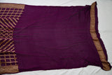 WINE COLOR BANARASI KHADDI GEORGETTE SILK SAREE