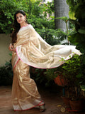 GOLDEN BANARASI HANDLOOM TISSUE SILK SAREE