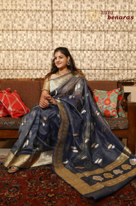 NAVY BLUE BANARASI HANDLOOM TISSUE SILK SAREE