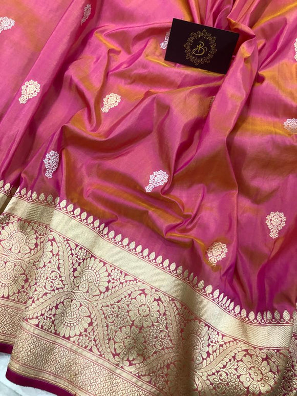 PEACHISH PINK BANARASI HANDLOOM KATAN SILK SAREE